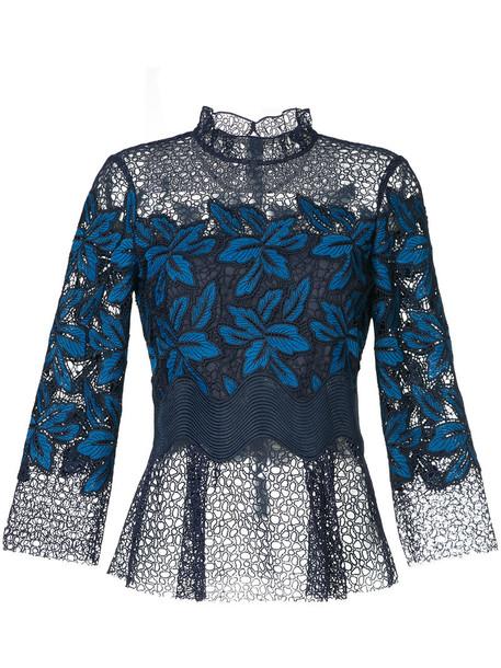 SEA blouse women lace blue top