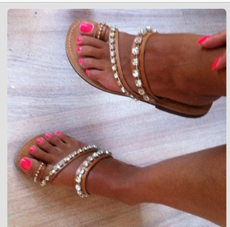 shoes flip-flops nude diamonds sparkle flat sandals nail polish sparkle flip flops sandals gems pink studded shoes summer studded sandals sandals summer rhinestones brown sandals toe loop sandals summer shoes bling sandles