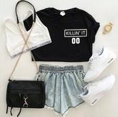 top,black,short,blue,nike,outfit,crop tops,black girls killin it,calvin klein underwear,t-shirt,shorts