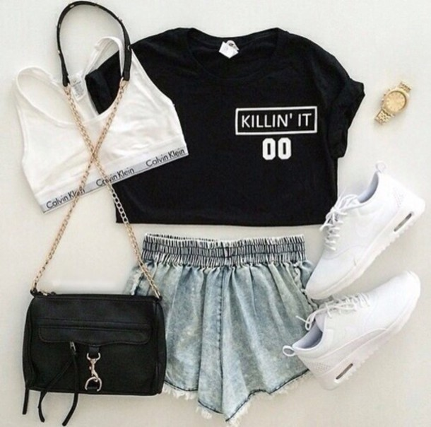 nike outfits for girls. top black short blue nike outfit crop tops girls killin it calvin klein underwear shorts outfits for k
