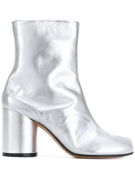 MAISON MARGIELA women leather grey metallic shoes