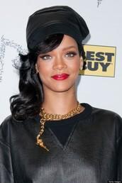 hat,rihanna,leather,jewels
