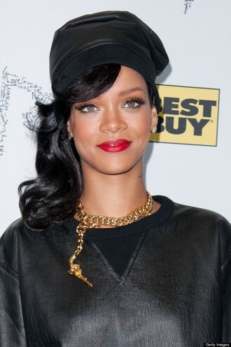 hat rihanna leather jewels