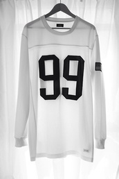 shirt,99,baseballshirt,black and white,sweater,white,blouse,hip hop,long sleeves,see through,streetstyle,number tee,top,jersey