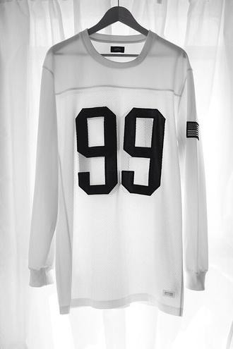 shirt 99 baseballshirt black and white sweater white blouse hip hop long sleeves see through streetstyle number tee top jersey