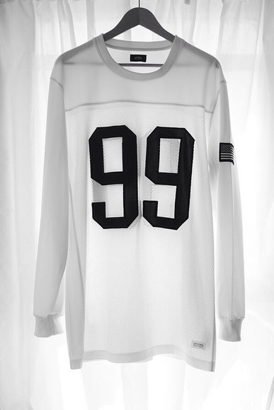 see through jersey top shirt 99 black and white blouse hip hop long sleeve streetstyle number tee baseballshirt white black sweater white