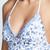 Shoshanna Chambray Paisley Floral Lace Back Bikini Top