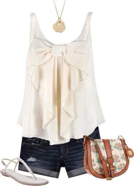 shirt blouse tank top top t-shirt white tank top bow top theme park