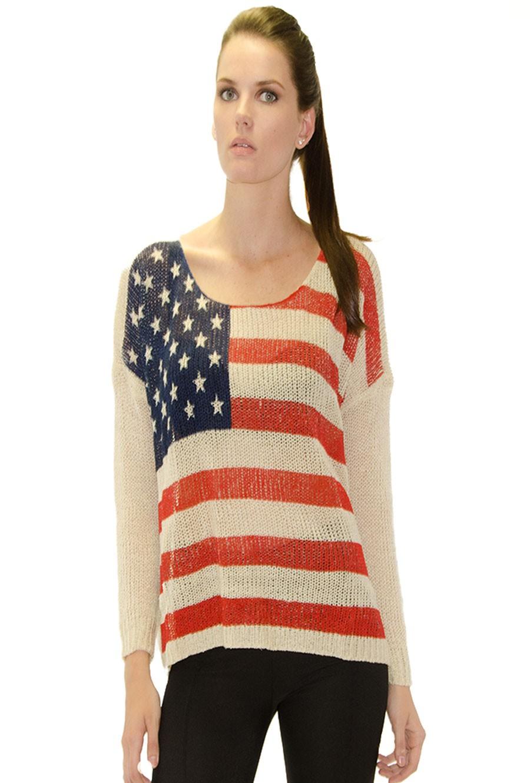 White american flag print knit