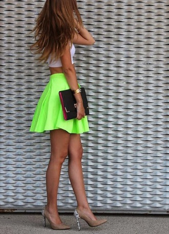 skirt neon yellow bag high heels shoes tennis skirt skater skirt green skirt yellow skirt crop tops summer girly neon neon green white crop tops watch clutch top
