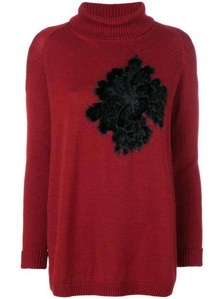 D.Exterior sweater women mohair floral wool red