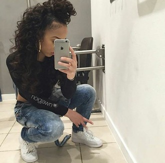 jeans noigjawn mirrior selfies black x denim x cocaine whites tumblr outfit $$$$
