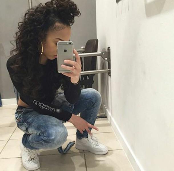 Jeans noigjawn mirrior selfies black x denim x cocaine whites tumblr outfit wheretoget - Mixed girl swag ...