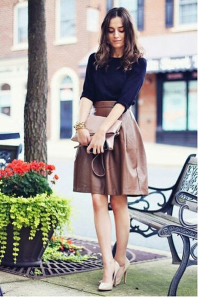 sweater blue blue sweater skirt midi skirt brown shoes pumps high heels nude nude heels nude shoes bag pale pink clutch