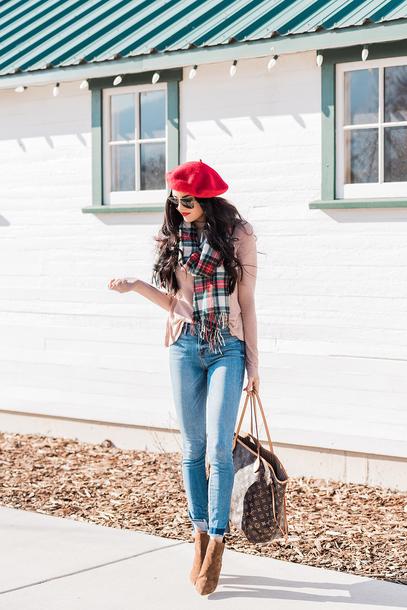 hat tumblr beret scarf tartan scarf tartan denim jeans blue jeans sweater boots brown boots