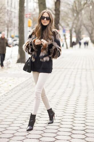 something navy blogger bag sunglasses black boots stripes fur coat skinny jeans printed fur jacket