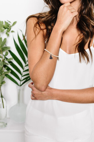 jewels beaded bracelet bracelets cotton tassel grey tassel tess and tricia bikiniluxe