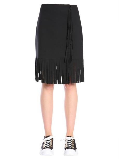 MSGM Fringed Skirt in nero
