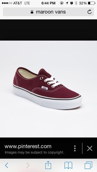 shoes vans burgundy white  stitches