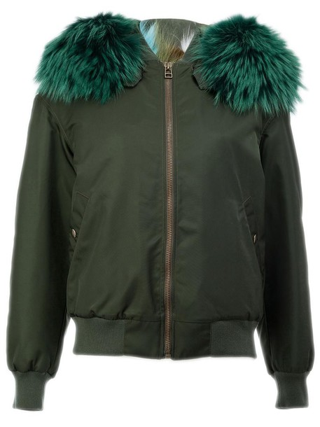 Mr & Mrs Italy - fur trim bomber jacket - women - Fox Fur/Polyamide/Polyester/Racoon Fur - XXS, Green, Fox Fur/Polyamide/Polyester/Racoon Fur