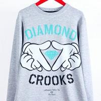 Серая толстовка-свитшот Diamond Crooks - Одежда Толстовки и худи  - купить в интернет-магазине At My Place