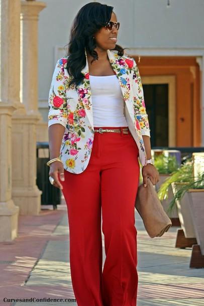 jacket floral plus size blazer pants red pants