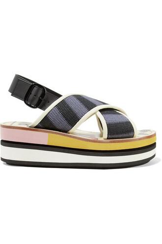 sandals leather blue shoes