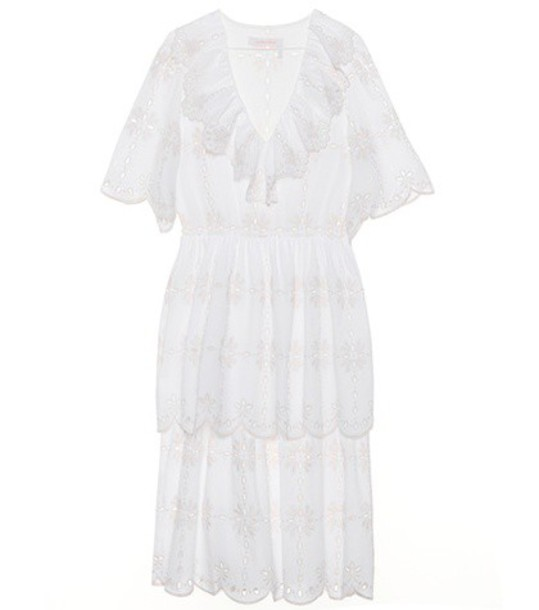 See By Chloé Embroidered cotton dress in white