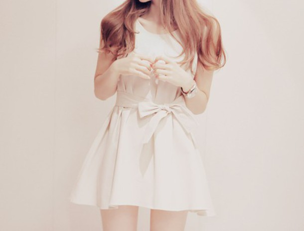 dress white cute girl bow white bow bow dress dress with white bow white dress with bow fashion white dress kfashion korean fashion korean fashion mini dress short dress cute dress