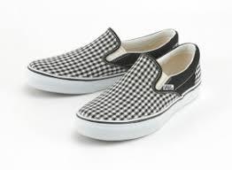 black and white gingham slip on vans