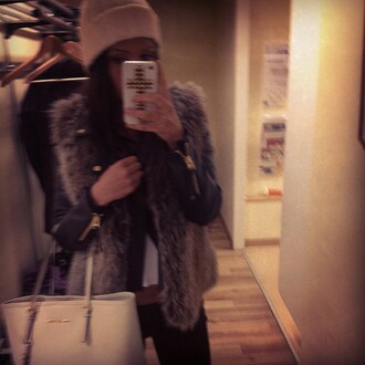 coat jacket leather vest fur bag beige