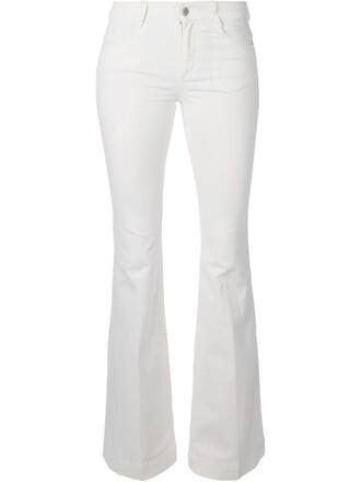 jeans flare women spandex white cotton