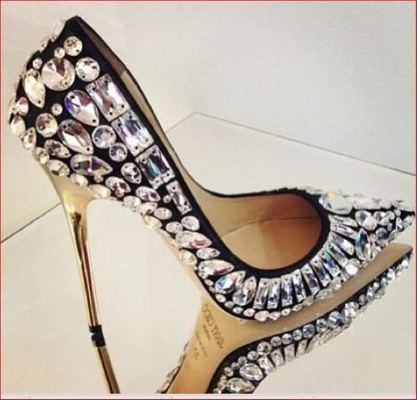 shoes talon diamonds noir black gold silver sequin dress