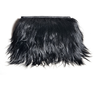 Back Stage* — Limited Edition - Black Goat Hair   Leather Clutch Fur Hand Bag (Only few stocks left)