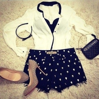 shorts studded shorts cut off shorts cut offs high waisted shorts blouse chiffon chiffon blouse black and white louboutin high heels clothes studded heels nude pumps nude