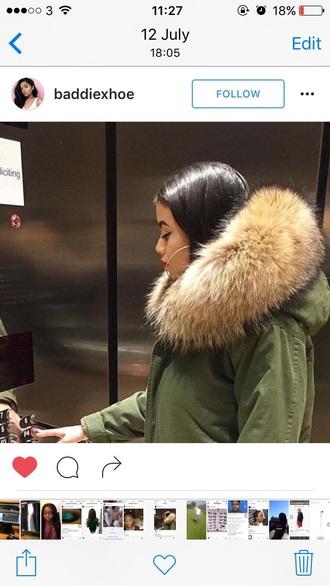 coat fur khaki green coat