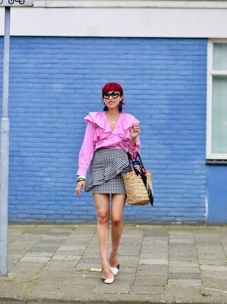 preppy fashionist blogger sunglasses blouse skirt bag shoes scarf jewels ruffle ruffled blouse basket bag summer outfits pink blouse gingham skirt