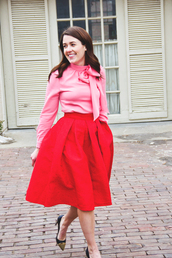 sequins and stripes,blogger,red skirt,midi skirt,pink blouse,shoes,top,skirt,bag