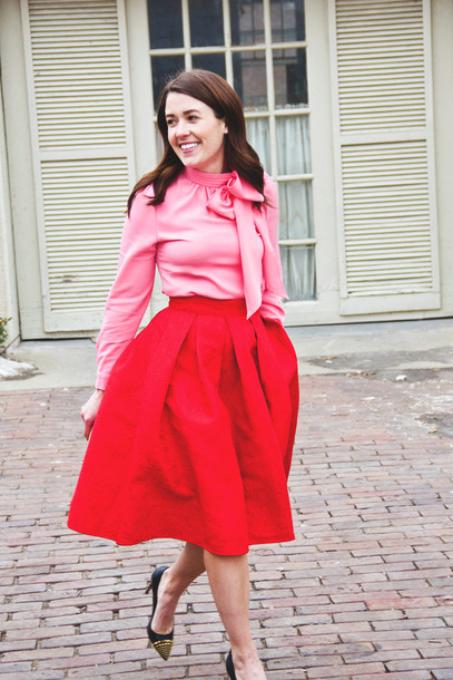 sequins and stripes blogger red skirt midi skirt pink blouse shoes top skirt bag