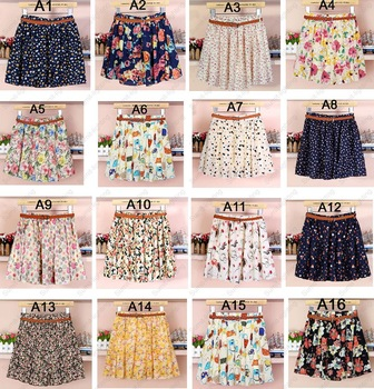 16 styles women girls ladies elastic waist casual cute vintage floral flowers pleated above knee mini skirt without belt
