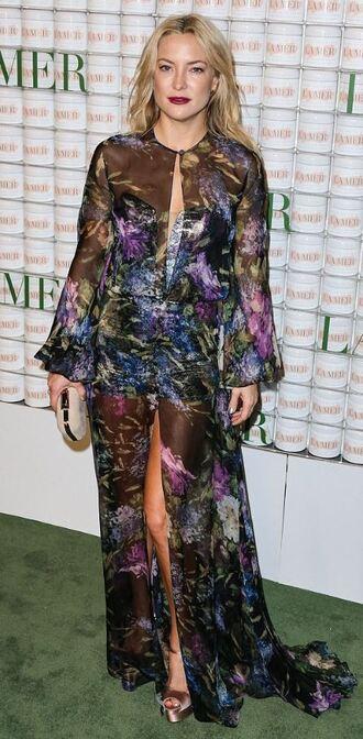 dress maxi dress slit maxi skirt kate hudson see through dress floral dress gown