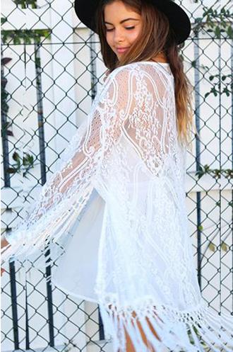 top haute rogue kimono white blouse summer kimono fringe lace kimono lace kimono white kimono boho look boho lace top
