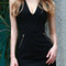 Lace up plunging neck sleeveless slimming dress