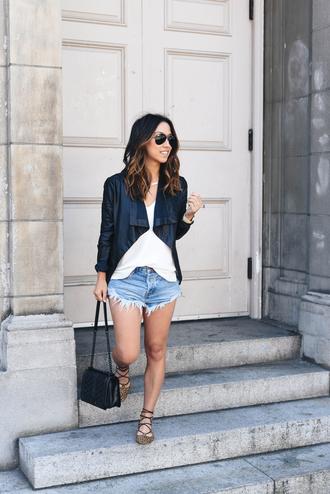 crystalin marie blogger tank top jacket shorts bag