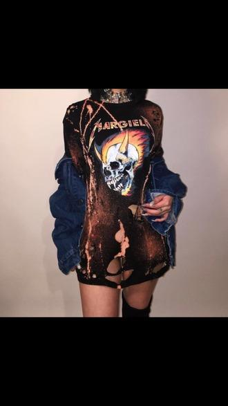 shirt skull t-shirt slogan t-shirts ripped shirt hot shirt dress