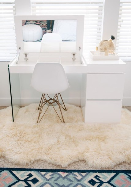 home accessory makeup makeup table desk home decor sheepskin rug white