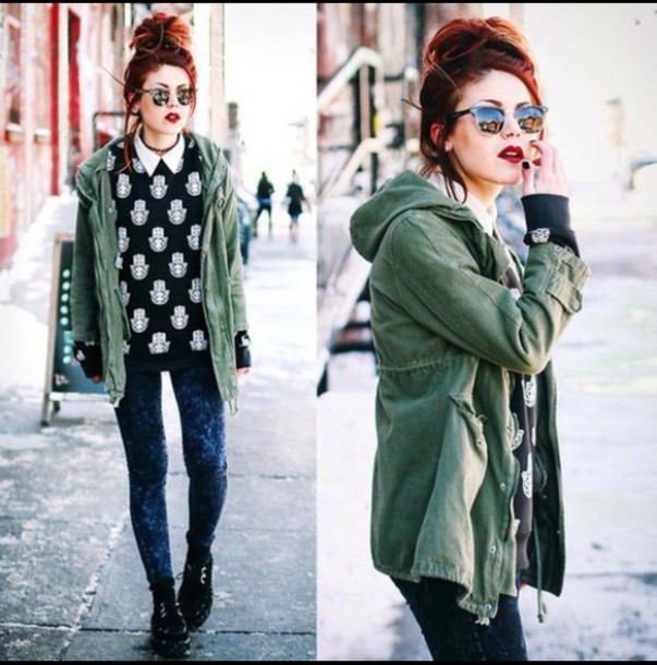 indie green jacket green boho boho chic hipster wishlist red hair streetwear streetstyle