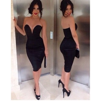 dress black evening party nightclub lady backless strapless midriff party dress beautiful hot