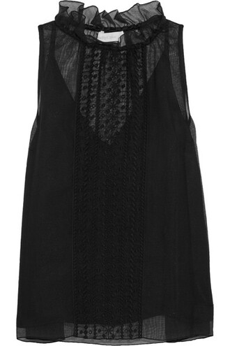 top embroidered cotton black