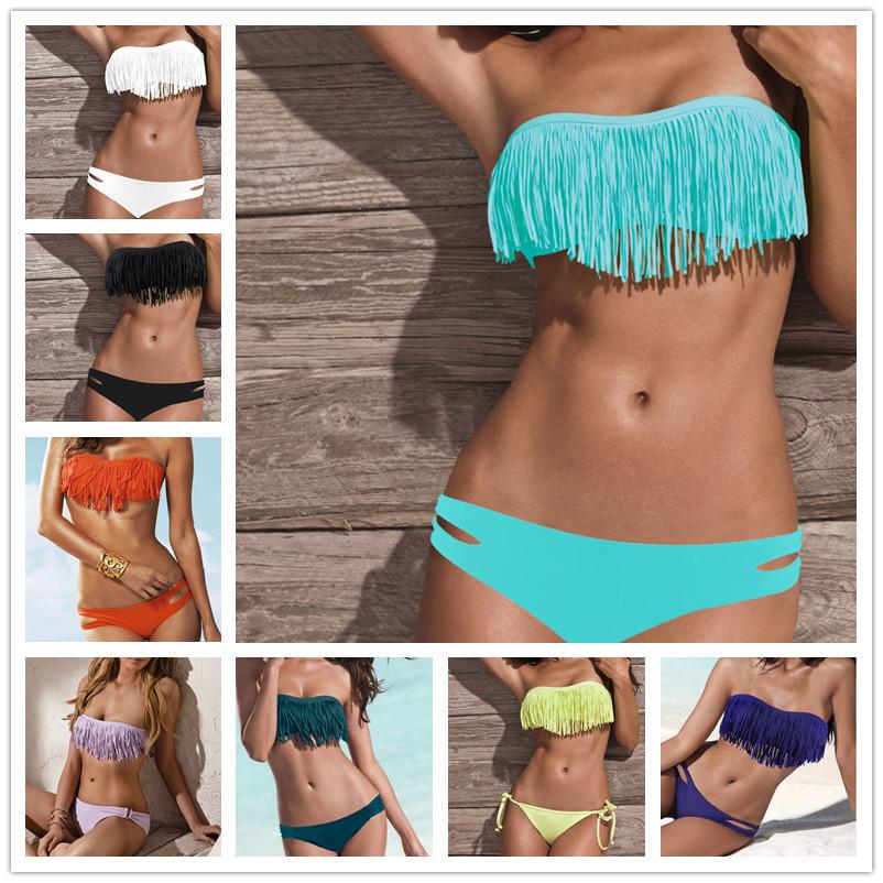 2pcs Sexy Lady Tassel Fringe Top BIKINI Set Swimsuit SWIMWEAR S/M/L PAD Bandeau | eBay